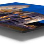 Artwork on floater frame side view
